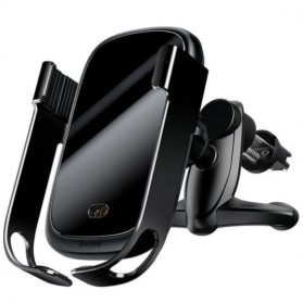 Baseus Smartphone Car Holder Luxury with Qi Wireless Charger - WXHW01-01 - Black