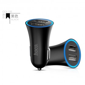Hoco UC204 Dual USB Car Charger 2.4A for Smartphone - Black