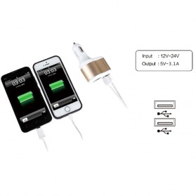 Hoco UC206 USB Car Charger 2 Ports 3.1A - White - 6