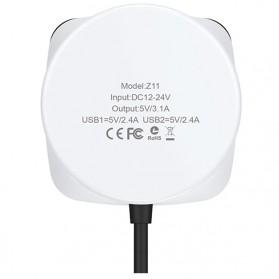 Hoco Z11 Charger Mobil Dual USB dan Lighter Slot - White - 6