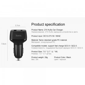 HOCO Car Charger Mobil 2 USB Quick Charge 3.0 - Z15 - Black - 8
