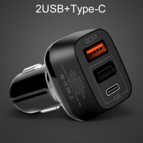 HOCO Car Charger Mobil 3 USB Quick Charge 3.0 - Z15A - Black