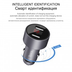 Hoco Car Charger 2 USB Port with LCD Display - Z9 Kingkong - Silver - 4