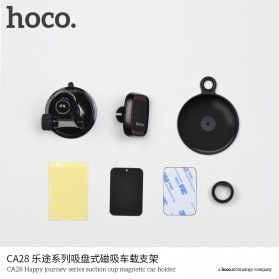 Hoco Happy Journey Series Suction Cup Holder Smartphone Mobil Magnet - CA28 - Black - 4