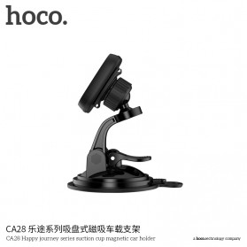Hoco Happy Journey Series Suction Cup Holder Smartphone Mobil Magnet - CA28 - Black - 6