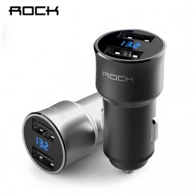 Rock USB Car Charger 2 Port Fast Charge 3.4A with Digital LED Display