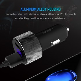 Rock USB Car Charger 2 Port Fast Charge 3.4A with Digital LED Display - RCC0127 - Black - 6