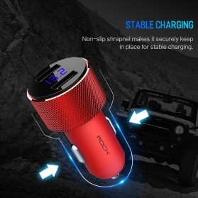 Rock USB Car Charger 2 Port Fast Charge 3.4A with Digital LED Display - RCC0127 - Black - 8