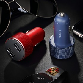 Rock USB Car Charger 2 Port Fast Charge 3.4A with Digital LED Display - RCC0127 - Black - 11