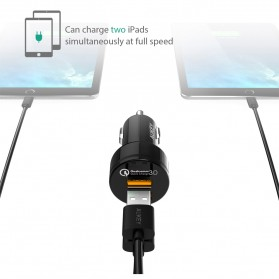 Aukey USB Car Charger 2 Port 36W with QC 3.0 & AiPower - CC-T8 - Black - 3
