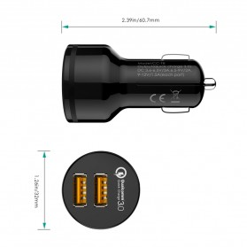 Aukey USB Car Charger 2 Port 36W with QC 3.0 & AiPower - CC-T8 - Black - 7