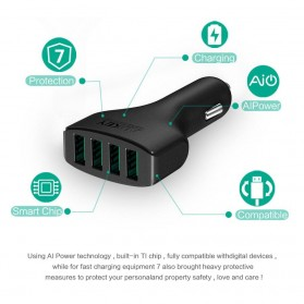 Aukey Charger Mobil 4 Port 48W 2.4A AiPower - CC-01 - Black - 3