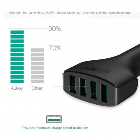 Aukey Charger Mobil 4 Port 48W 2.4A AiPower - CC-01 - Black - 4