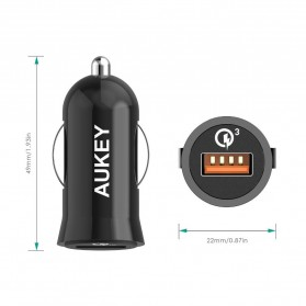 Aukey Charger Mobil 1 Port 19.5W 3A QC3.0 - CC-T10 - Black - 6