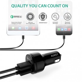 Aukey Charger Mobil 2 Port 34.5W 3A QC 3.0 - CC-T7 - Black - 2