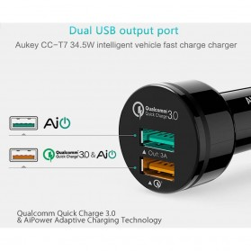 Aukey Charger Mobil 2 Port 34.5W 3A QC 3.0 - CC-T7 - Black - 3