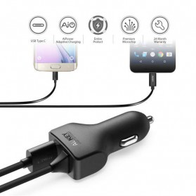 AUKEY Car Charger Mobil 1 Port + 1 USB Type C Line QC3.0 AiPower - CC-Y4 - Black - 3