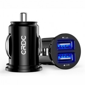 Baterai & Charger - CRDC USB Car Charger 2 Port 4.8A AiPower with LED Light - CC-S1 - Black