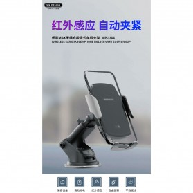 WK Car Wireless Charger Suction Dashboard Car Holder Mount - WP-U44 - Black - 2
