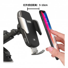 WK Car Wireless Charger Suction Dashboard Car Holder Mount - WP-U44 - Black - 3