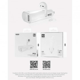 WK 2 in 1 Car Charger with Bluetooth Earphone Airpods - P13 - White - 6