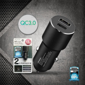 WK Letor Series Car Charger 2 Port USB Type C QC3.0 3A 18W - WP-C21 - Black
