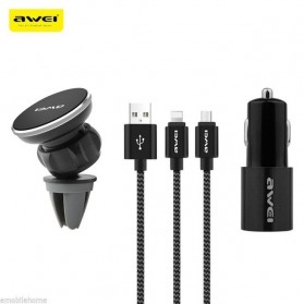 Awei 3 in 1 Kabel Lightning Micro USB + Car Charger + Air Vent Mount - X10 - Black