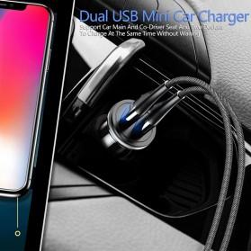 Usams C4 Smartphone Car Charger Mobil 2 Port 2.4A - US-CC050 - Black - 6