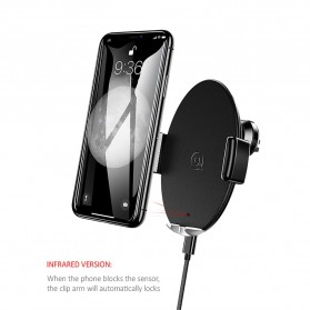Usams Car Air Vent Smartphone Holder Qi Wireless Charger 10W - US-CD64 - Black - 2