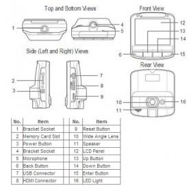 Sunco Car Black Box DVR Camera Recorder Full HD 1080P 2.4 Inch LCD with Wide Angle - SV-MD029 - Black - 3