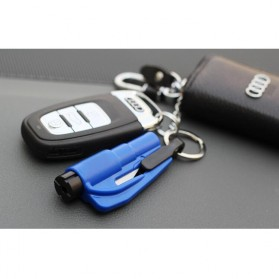 Multifunction 3-in-1 Tools Safety Hammer + Seat Belt Cutter + Whistle Keychain - Blue