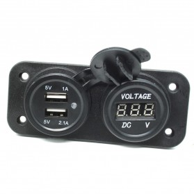 WUPP Car Charger Dual USB LED with Voltmeter Combination Tuning Parts - Black