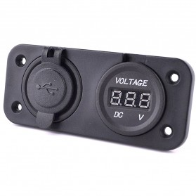 WUPP Car Charger Dual USB LED with Voltmeter Combination Tuning Parts - Black - 2