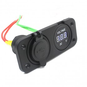 WUPP Car Charger Dual USB LED with Voltmeter Combination Tuning Parts - Black - 4