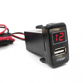 Car Charger USB + Voltmeter for Toyota VIGO - Black