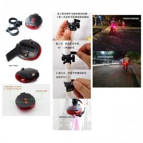 TaffLED Bicycle Laser Strobe Taillight 5 LED / Lampu LED Sepeda - SL-116 - Red - 6