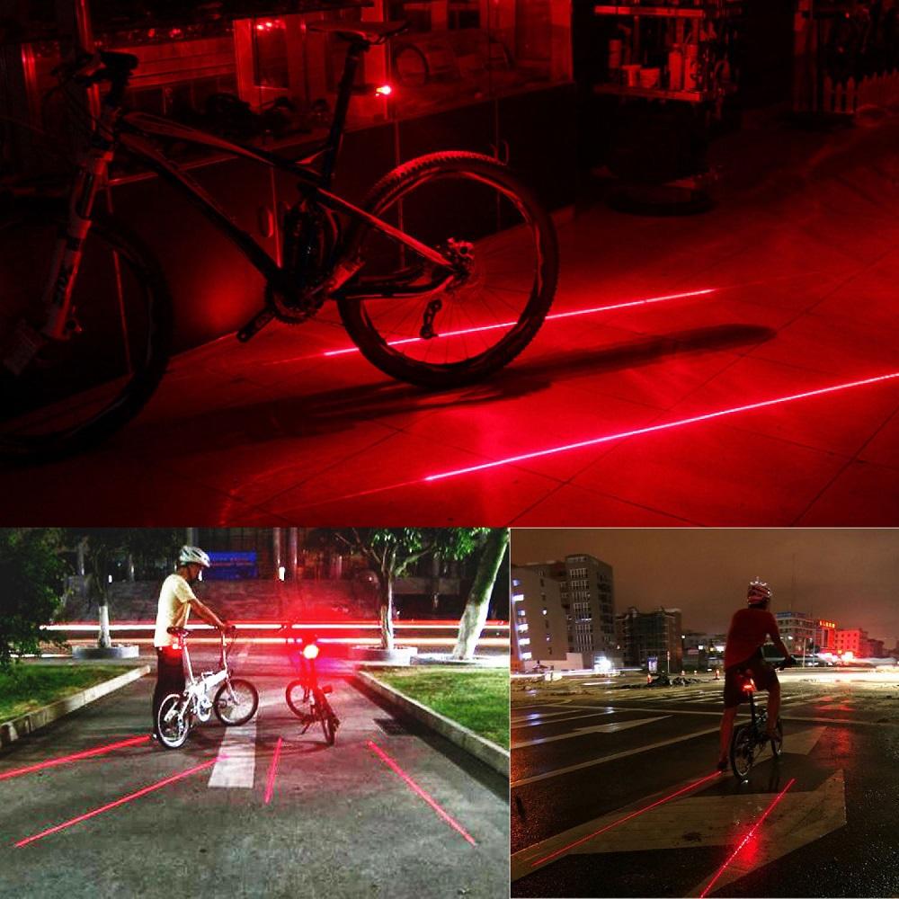 Bicycle Laser Strobe Taillight 5 Led Lampu Sepeda Dw 681 Helm Mtb Advand Dengan Helmet Red