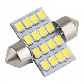 Lukstar Lampu Interior Mobil LED Super White 31mm Festoon 16 SMD 1210 - 2 PCS - White
