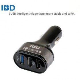IBD Charger Mobil Qualcomm Quickcharge 3.0 3 Port USB - Black
