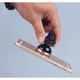 Smartphone Car Holder Magnetic Air Vent Mount - 161202 - Silver Black - 2