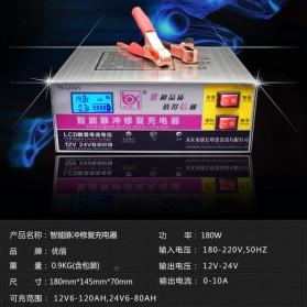 Intelligent Repair Charger Aki Mobil Motor 12-24V 10A dengan LCD - YX1224-3 - White - 5