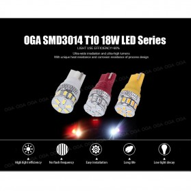 Lampu Mobil Headlight LED T10 W5W 18 SMD 3014 2 PCS - White - 7
