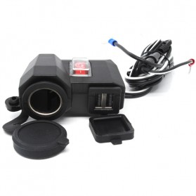 USB Charger Motor 2 Port dengan Cigarette Plug 12V - 170513 - Black