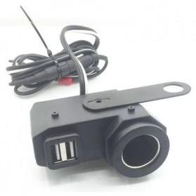 YANTU USB Charger Motor 2 Port dengan Cigarette Plug 12V - 170513 - Black - 3