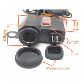 YANTU USB Charger Motor 2 Port dengan Cigarette Plug 12V - 170513 - Black - 4