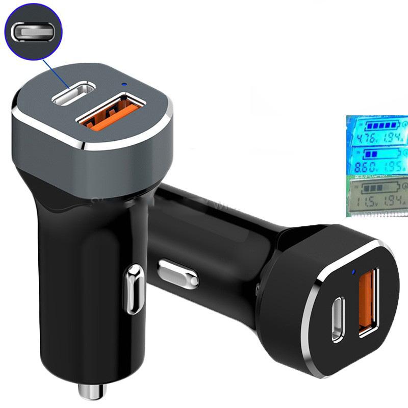 USB Car Charger 2 Port USB Type C & USB QC 3.0 - Black - 2
