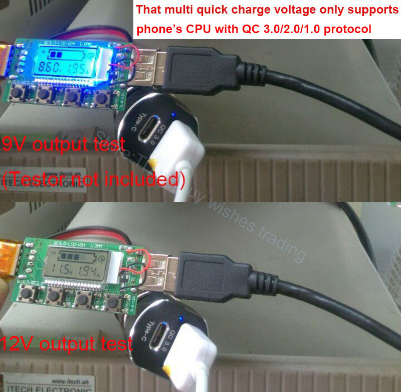 USB Car Charger 2 Port USB Type C & USB QC 3.0 - Black - 4