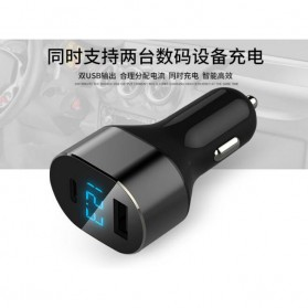 Dual USB Car Charger LED Display USB Type C + QC 3.0 - Black - 7