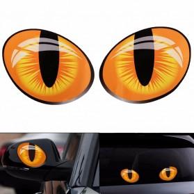 Stiker 3D Mobil Model Mata Kucing 2PCS - Orange