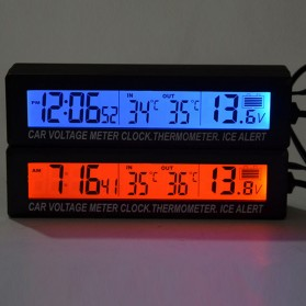 Jam Digital LCD Mobil dengan Thermometer + Battery Voltage Monitor - EC88 - Black